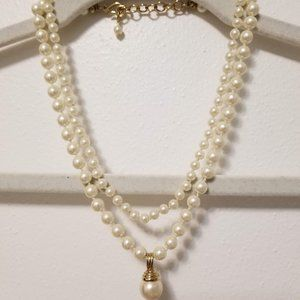 Talbots  2 strand white simulated pearl necklace